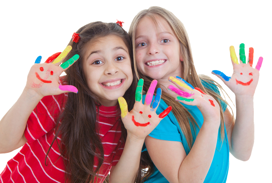 girls-with-paint-on-hands